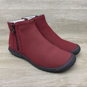 JBU by Jambu Juno Womens Zip Ankle Boots Maroon 9M